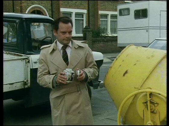 Del by the cement mixer from Only Fools and Horses Ashes to ashes