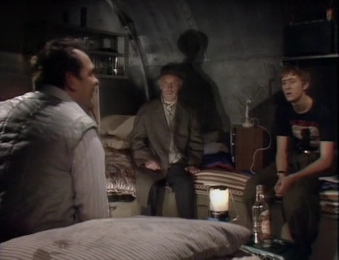 The Trotter family in the shelter from The Russians are Coming - Only Fools and Horses
