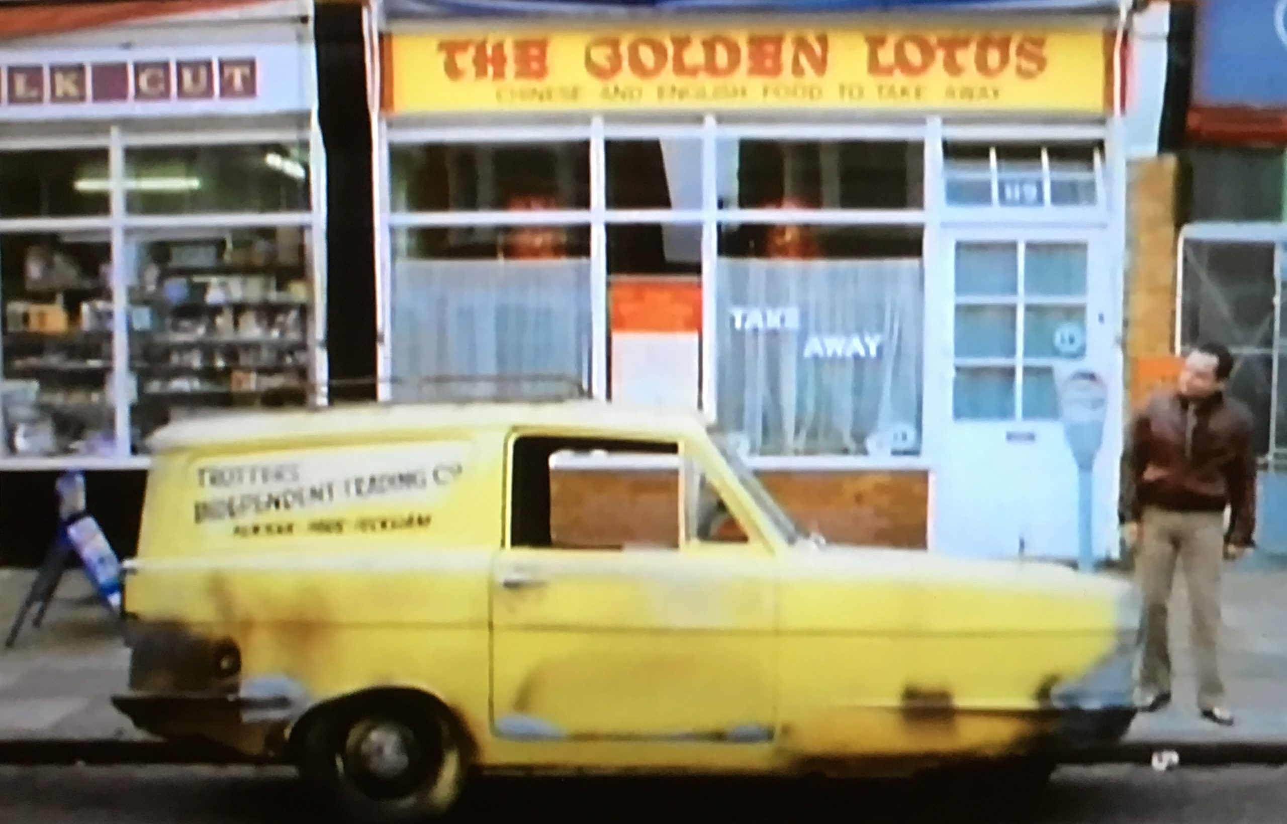 Del Boy's van outside the Golden Lotus in the Yellow Peril Only Fools and Horses